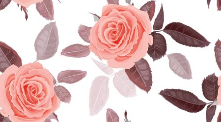 Garden flowers of rose. Seamless floral pattern. Vector illustration - template of luxury packaging, textiles, paper. Leaves and pink flowers on white background. Victorian realistic style. Vintage.