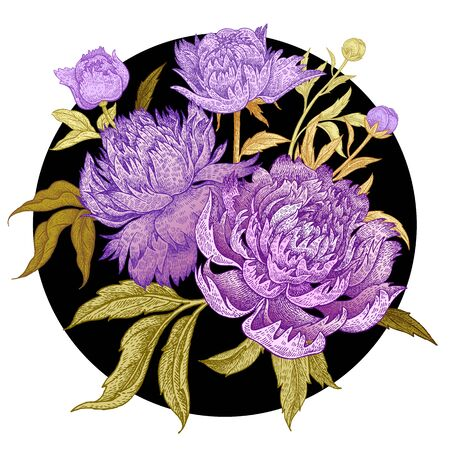 Card with bouquet of peonies isolated in a black circle on a white background. Green leaves, buds, lilac flowers with circuit gold foil. Oriental style. Hand drawing art. Vector illustration. Vintage.