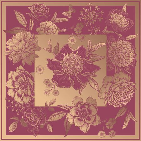 Beautiful flowers peonies, roses and butterflies. Gold print on rosewood color background. Vintage. Vector illustration. Luxurious decor for cards, interior, pillows, scarf, shawls. Floral decoration.
