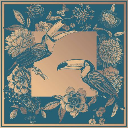 Toucans birds on branches, beautiful flowers peonies, roses and butterflies. Gold print and blue-green. Vintage. Vector illustration. Luxurious decor for cards, interior, pillows, scarf and shawls. Ilustracja