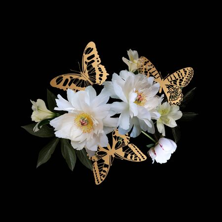 Bouquet of luxurious white peonies and golden butterflies. Isolated flowers on a black background. Decoration for packaging, greeting cards, wedding invitations. Archivio Fotografico - 137767558
