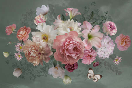 Luxurious baroque bouquet. Beautiful garden flowers, leaves and butterfly on light background. Pink and white peonies, roses, tulips. Luxury design. Vintage illustration. Floral decoration. 写真素材