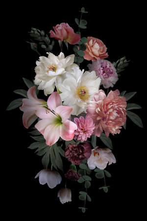 Luxurious baroque bouquet. Beautiful garden flowers and leaves on a black background. Pink and white peonies, roses, tulips. Luxury design. Vintage illustration. Floral decoration.