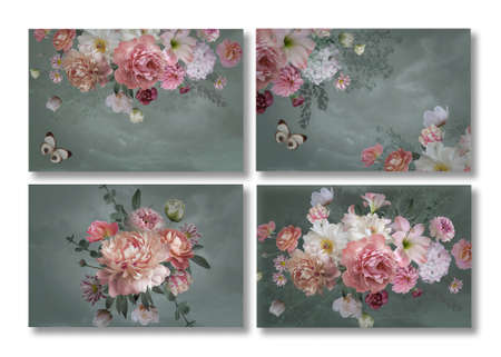 Business cards set. Floral templates with place for text. Beautiful garden flowers and butterflies. Luxurious baroque bouquets. Peonies, roses, tulips. Luxury design.