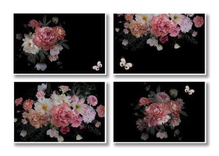 Business cards set. Floral templates with place for text. Beautiful garden flowers and butterflies on a black background. Luxurious baroque bouquets. Peonies, roses, tulips. Luxury design.