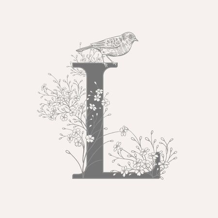 Letter L, decorative cute flowers and bird isolated. Vector decoration. Black and white. Vintage illustration. Floral pattern for greetings, wedding invitations, text design.
