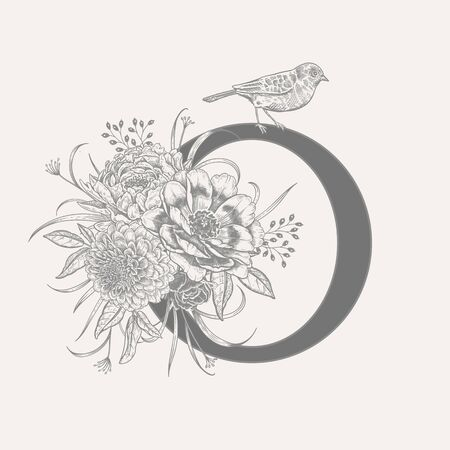 Letter O, luxury peonies, decorative herbs, cute flowers and bird isolated. Vector decoration. Black and white. Vintage illustration. Floral pattern for greetings, wedding invitations, text design
