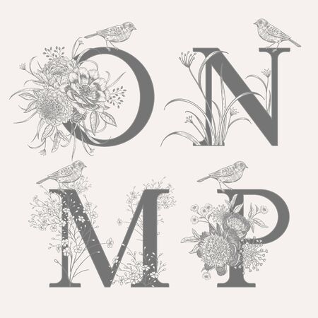 Letters O N M P, flowers peonies, decorative herbs and birds isolated set. Vector decoration. Black and white. Vintage illustration. Floral pattern for greetings, wedding invitations, text design. Ilustração