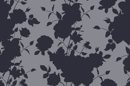 Black silhouettes of flowers on a gray background. Floral seamless pattern. Vector illustration. Vintage. Decorative background to create paper, wallpaper, summer textile, interior design.