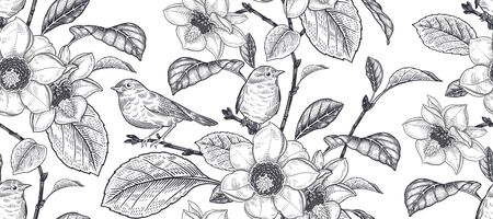 Blooming magnolia tree and little cute birds. Flowers, leaves and branches. Black and white floral seamless pattern. Vector illustration. Vintage. Decorative background for paper, wallpaper, textile.