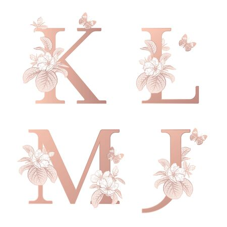 Letters J K L M, flowers flowering sakura branches, butterfly isolated. Vector decoration. White, gold foil print. Vintage illustration. Floral pattern for greetings, wedding invitations, text design.