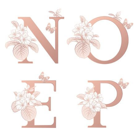 Letters O P N E, flowers flowering sakura branches, butterfly isolated. Vector decoration. White, gold foil print. Vintage illustration. Floral pattern for greetings, wedding invitations, text design. Vetores