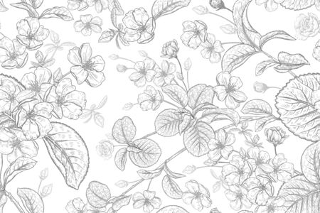 Japanese cherry. Blooming tree branches with flowers and leaves. Spring floral vintage seamless pattern. Vector illustration. Template for design textiles, paper, wallpaper. Black and white sketch  イラスト・ベクター素材