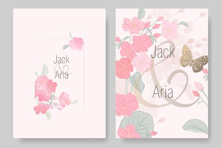 Wedding invitations cards set. Blooming Japanese cherry tree and butterfly. Frame of flowers and leaves. Spring flowers pattern. Floral vector illustration. Vintage. Oriental style. Pink and gold