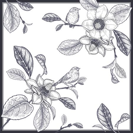 Blooming magnolia tree and little cute birds. Flowers, leaves, branches. Black and white floral pattern. Vector illustration Vintage. Template for creating scarves, interior pillows, decorative panels.