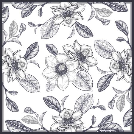 Blooming magnolia tree. Flowers, leaves, branches. Black and white floral pattern. Vector illustration Vintage. Template for creating scarves, interior pillows, decorative panels.