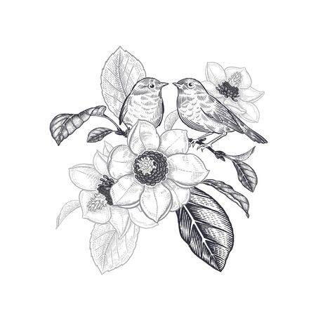 Spring mood with magnolia flowers. A tree branch and two little cute birds. Black and white vector illustration. Sketch. Vintage. Victorian style. Design for interior, wedding cards, valentines. Ilustración de vector