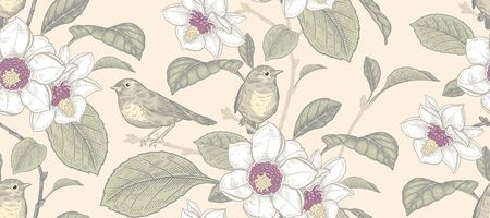 Blooming magnolia tree and little cute birds. Flowers, leaves and branches. Floral seamless pattern. Pastel colors. Vector illustration. Vintage. Decorative background for paper, wallpaper, textile.