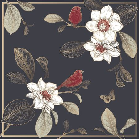 Floral pattern. Magnolia tree branches, flowers, cute birds and butterfly. Print gold foil on black background. Vector illustration Vintage. Template for scarves, interior pillows, decorative panels.
