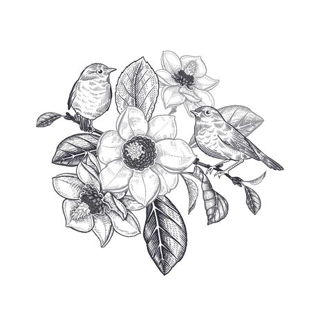 Spring flowers and two cute birds on a tree branch of a blossoming magnolia. Black and white vector floral illustration. Vintage decoration for love message, wedding invitation, interior design.  イラスト・ベクター素材