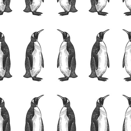 Seamless pattern. Waterfowl birds king penguins. Vector illustration. Black ink on white background. Wild life. Natural motive of nature. For paper, wallpaper, textiles, ornamental coverings. Illusztráció