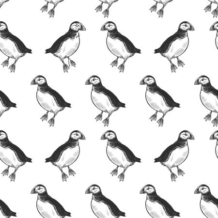 Puffins. Exotic birds deadlock. Seamless pattern. Black ink on white background. Vector illustration. Wild life. Natural motive of nature. For paper, wallpaper, textiles, ornamental coverings.