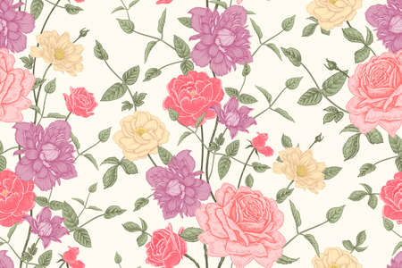 Color floral seamless pattern. Beautiful blooming garden flowers roses clematis.  Hand drawing. Vintage. Decorative background to create paper, wallpaper, summer textile.