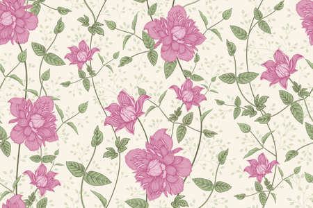 Color full floral seamless pattern. Beautiful blooming garden flowers clematis and decorative branches.