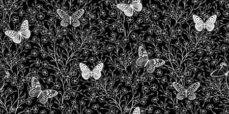 White silhouettes of small flowers on black background and butterflies. Floral seamless pattern for fabrics, summer textiles, paper, wallpaper, interior decoration. Vector illustration. Vintage