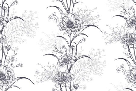Garlands of small cute garden flowers. Black and white background. Floral seamless pattern for fabrics, summer textiles, paper, wallpaper, interior decoration.