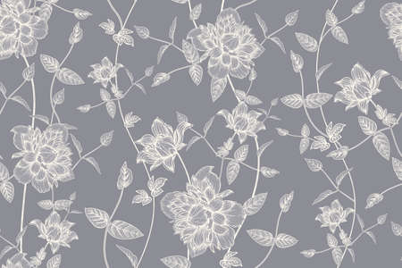 Gray and white floral seamless pattern. Beautiful blooming garden flowers clematis. Vector illustration. Hand drawing. Vintage. Background for paper, wallpaper, summer textile  イラスト・ベクター素材