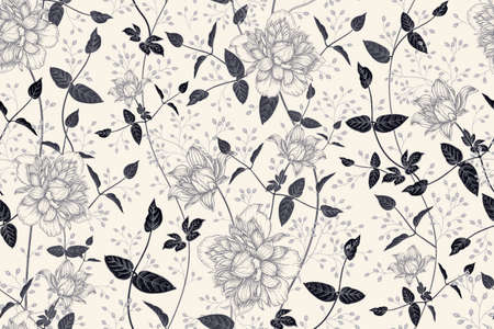 Black and white floral seamless pattern. Beautiful blooming garden flowers clematis and decorative branches. Vector illustration. Hand drawing. Vintage. Background for paper, wallpaper, summer textile  イラスト・ベクター素材