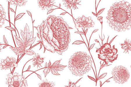 Floral seamless pattern. Garden flowers peonies, branches and leaves. Red and white vector illustration. Hand drawing. Vintage. Decorative background to create paper, wallpaper, summer textile.  イラスト・ベクター素材