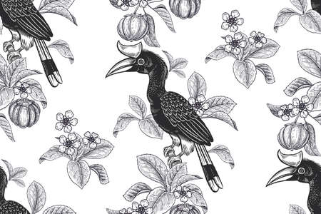 Tropical floral seamless pattern. Black and white background for textile, paper, wallpaper. Tropical leaves and flowers, birds toucans, exotic fruits. Vector. Vintage.