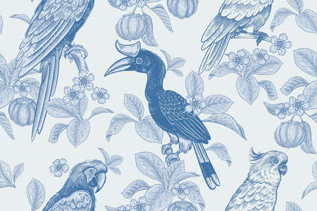 Tropical floral seamless pattern. Background for textile, paper, wallpaper. Tropical leaves and flowers, birds toucans and parrots, exotic fruits. Blue colors. Vector. Vintage.