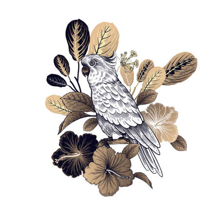 Summer floral pattern. Tropical bird parrot, leaves and flowers isolated on white background. Gold and black. Vector illustration Vintage. For sublimation printing on T-shirts, pillows, scarves.  イラスト・ベクター素材