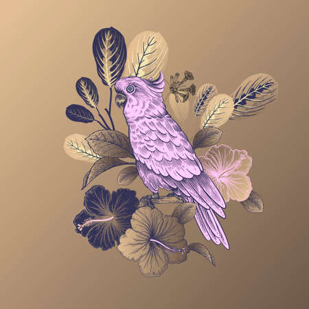 Summer floral pattern. Tropical bird parrot, leaves and flowers isolated on gold background. Gold, black and pink. Vector illustration Vintage. For sublimation printing on T-shirts, pillows, scarves.  イラスト・ベクター素材