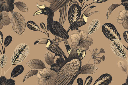 Tropical floral seamless pattern. Luxury background for textile, paper, wallpaper. Tropical leaves and flowers, birds, parrots and toucans.
