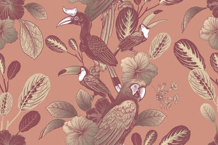 Summer tropical floral seamless pattern. Tropical birds parrots and toucans, leaves and flowers. Exotic nature. Animal pattern. Vector illustration Vintage. Luxurious design. Gold and pink.  イラスト・ベクター素材