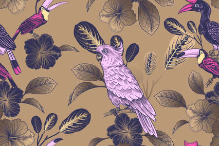 Summer tropical floral seamless pattern. Bright tropical birds on gold background. Black tropical leaves flowers.