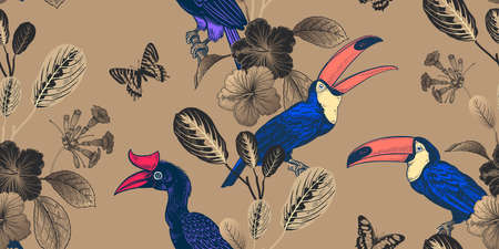 Summer tropical floral seamless pattern. Bright tropical birds and butterflies on gold background. Tropical leaves & flowers. Exotic nature. Vector illustration Vintage. Luxurious design. Black & gold  イラスト・ベクター素材