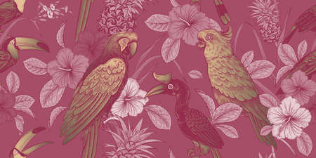 Luxury tropical pattern. Exotic birds parrots and toucans. Tropical leaves and flowers. Gold foil print on pink background. Exotic pattern.  イラスト・ベクター素材