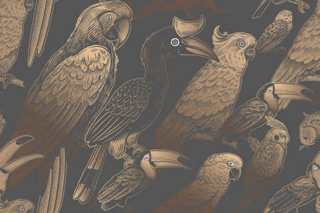 Luxury tropical pattern. Exotic birds parrots and toucans. Gold foil print on a black background. Animal pattern. Wild world. Summer design for Hawaiian shirts, paper, wallpaper, interior. Vector.