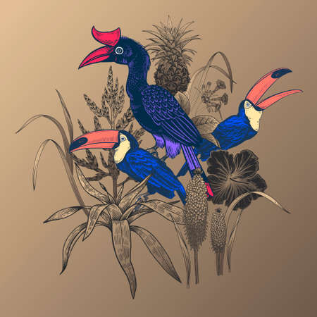 Floral pattern. Tropical birds toucans, leaves, pineapple, flowers hibiscus isolated. Black, gold and blue. Vector illustration. Vintage engraving. Decoration for print on T-shirts, pillows, scarf.  イラスト・ベクター素材