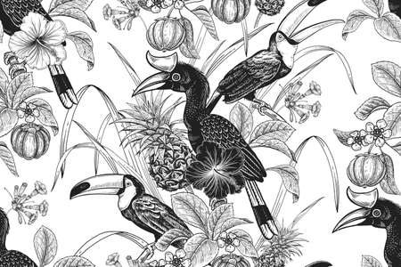 Tropical floral seamless pattern. Black and white background for textile, paper, wallpaper. Tropical leaves and flowers hibiscus, birds parrots and toucans, pineapples. Exotic pattern. Vector. Vintage  イラスト・ベクター素材