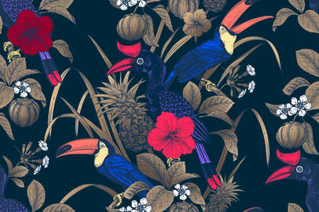 Tropical floral seamless pattern. Bright tropical birds, flowers, fruits, golden leaves on black background. Exotic nature. Vector illustration. Vintage. Luxury summer design for Hawaiian shirts.  イラスト・ベクター素材