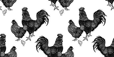 Seamless pattern. Chicken, rooster and hen. Decorative background. Domestic bird. Farm animals series. Vector illustration of poultry. Black and white graphics. Vintage sketch.  イラスト・ベクター素材