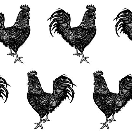 Seamless pattern. Rooster images. Decorative background with cocks. Domestic bird. Farm animals series. Vector illustration of poultry. Black and white graphics. Vintage sketch.  イラスト・ベクター素材