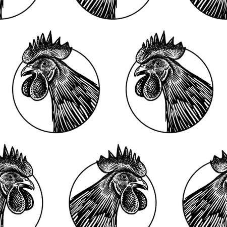 Seamless pattern. Rooster head closeup. Black image on a white background. Domestic bird. Farm animals series. Vector illustration of poultry. Black and white graphics. Vintage sketch.