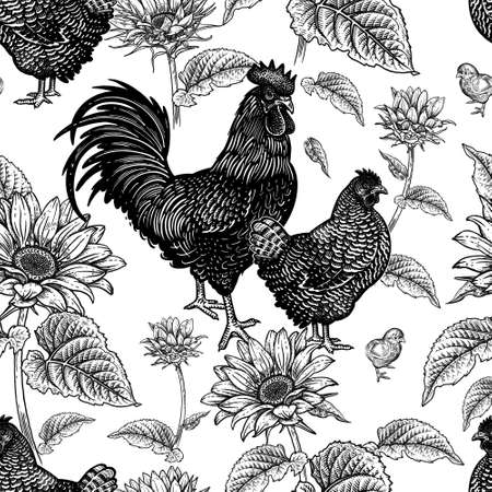 Seamless pattern. Chicken, rooster, hen, and sunflowers. Decorative background. Domestic bird. Farm animals series. Vector illustration of poultry. Black and white graphics. Vintage sketch.  イラスト・ベクター素材